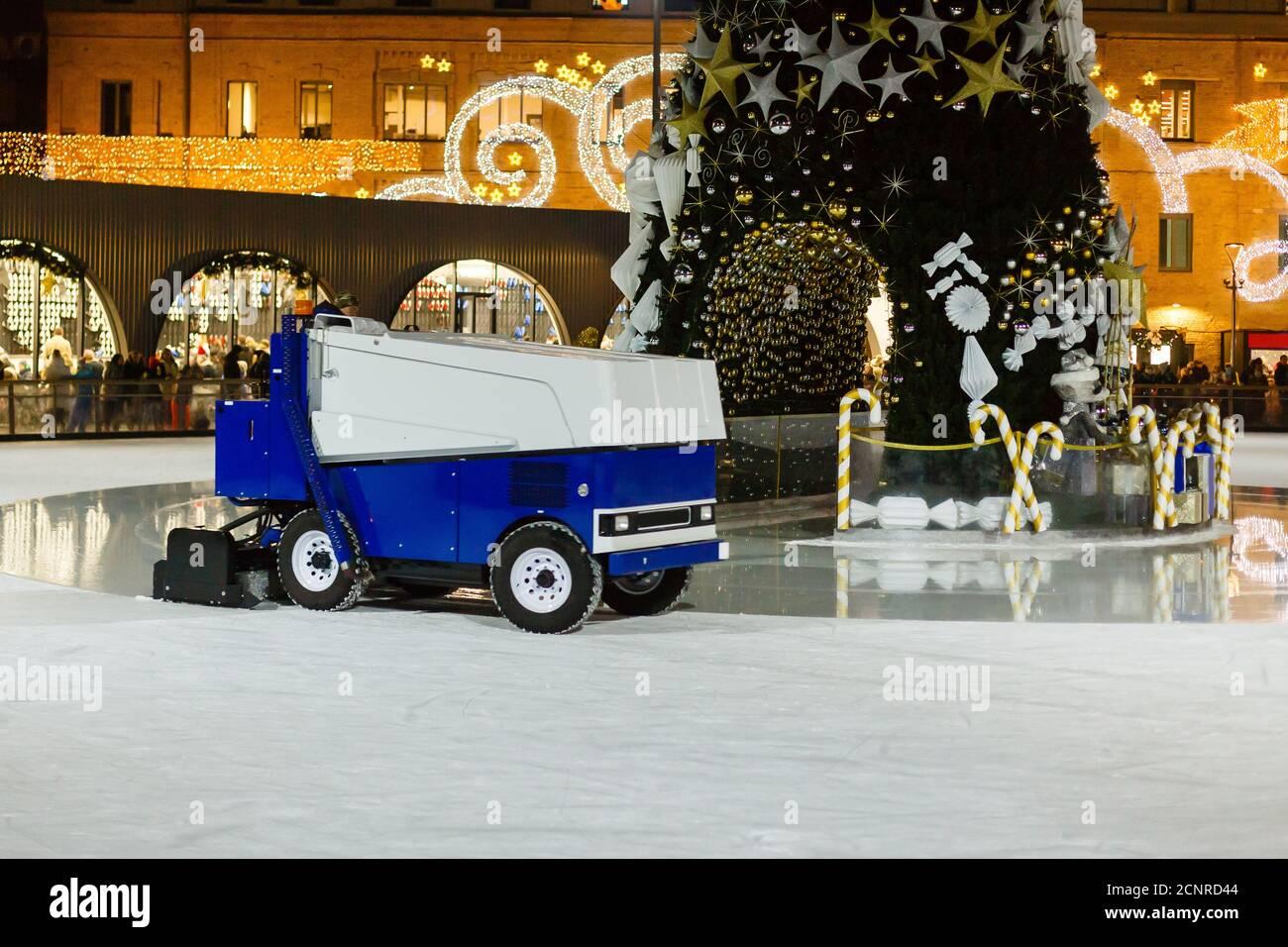 Winter Wonderland attraction ice rink christmas street, at nightfall Stock Photo