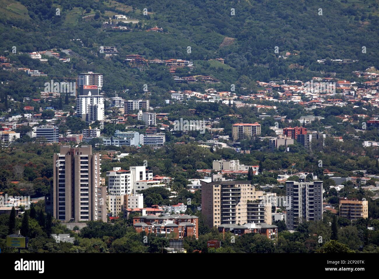 Residential buildings are seen in San Salvador, El Salvador September 24, 2018. REUTERS/Jose Cabezas Stock Photo