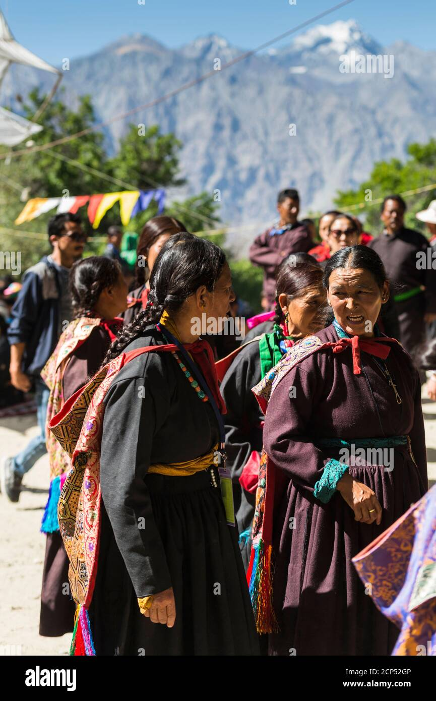 the Nubra Valley with the village of Sumur, the Dalai Lama visiting the Samtanling Gompa monastery Stock Photo