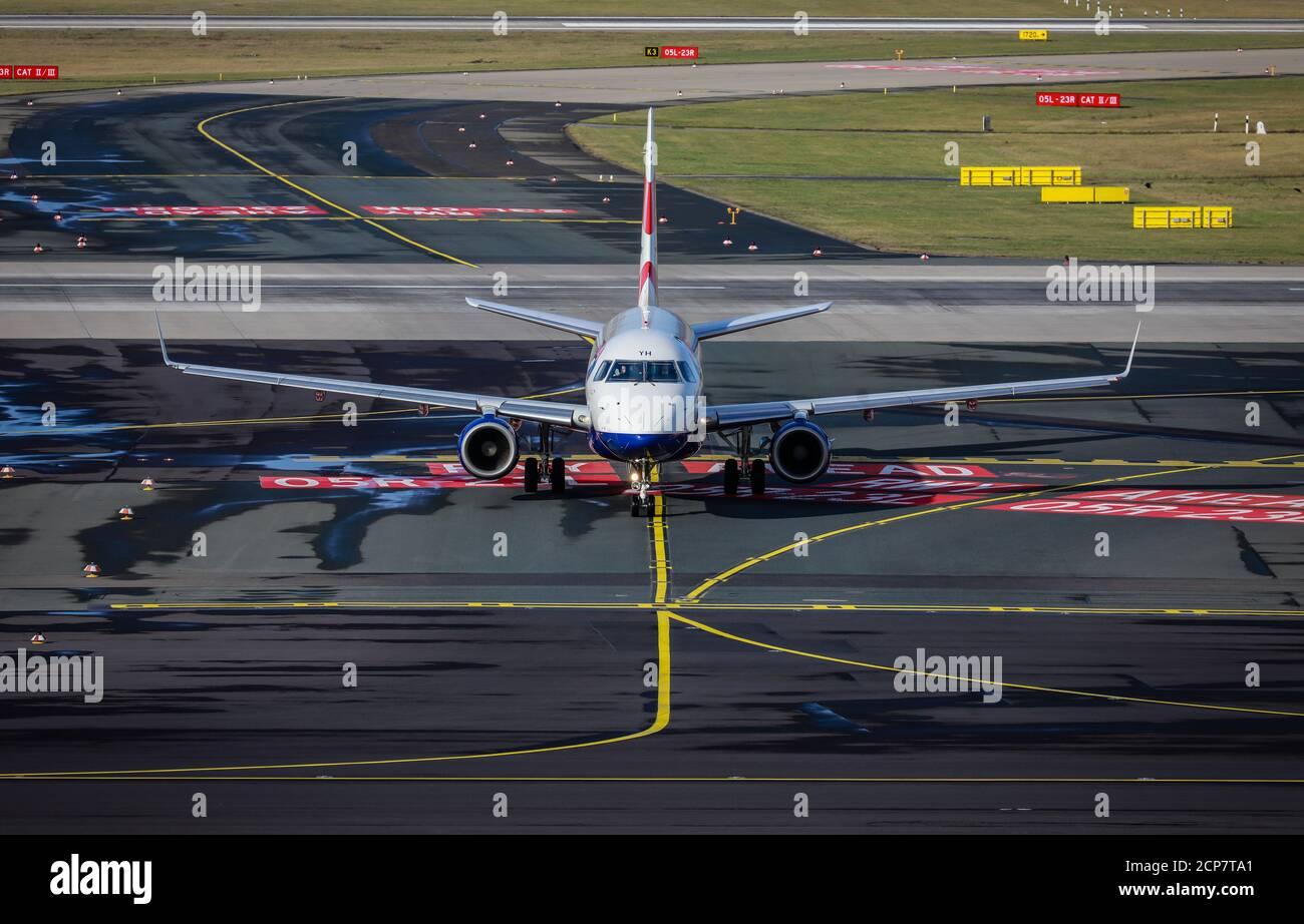 Duesseldorf, North Rhine-Westphalia, Germany - British Airways plane, Duesseldorf International Airport, DUS Stock Photo