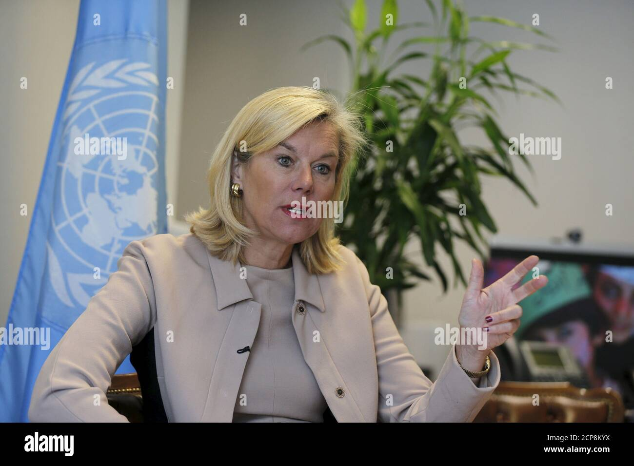 United Nations Special Coordinator for Lebanon Sigrid Kaag speaks during interview with Reuters at her office in Beirut, February 3, 2016. Lebanon has weathered five years of Middle Eastern turmoil remarkably well but its stability should not be taken for granted and it needs long-term financial help to cope with a huge number of Syrian refugees, a senior U.N. official said. U.N. Special Coordinator for Lebanon Sigrid Kaag, speaking before a Syria donors' conference in London, said on Wednesday that the refugee crisis must be recognised as long-term and the response must move beyond meeting hu Stock Photo