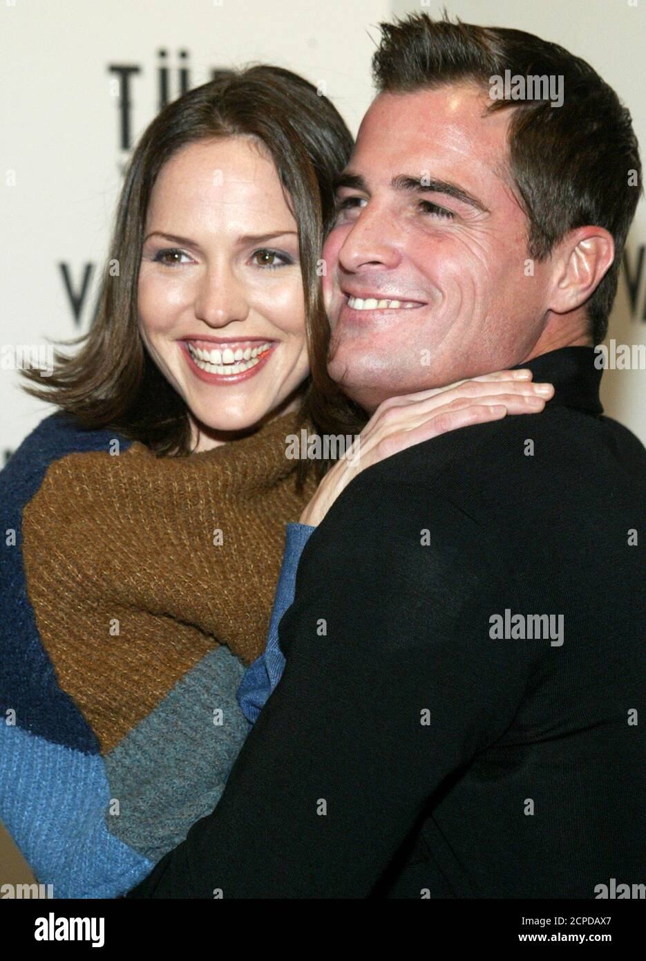 Csi Crime Scene Investigation Cast Members Jorja Fox L And George Eads Embrace Before A Party At The Light Nightclub In Las Vegas Nevada On Dec 14 2003 The Pair Were Fired