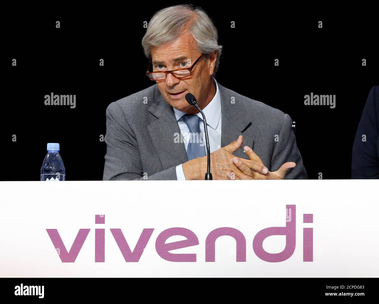 Vincent Bollore, Chairman of media group Vivendi, attends the company's shareholders meeting in Paris, France, April 25, 2017.  REUTERS/Jean-Paul Pelissier Stock Photo