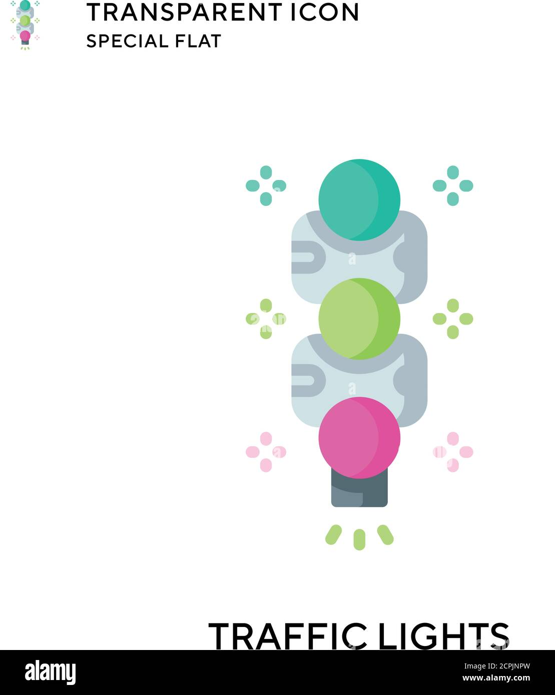 Traffic lights vector icon. Flat style illustration. EPS 10 vector. Stock Vector