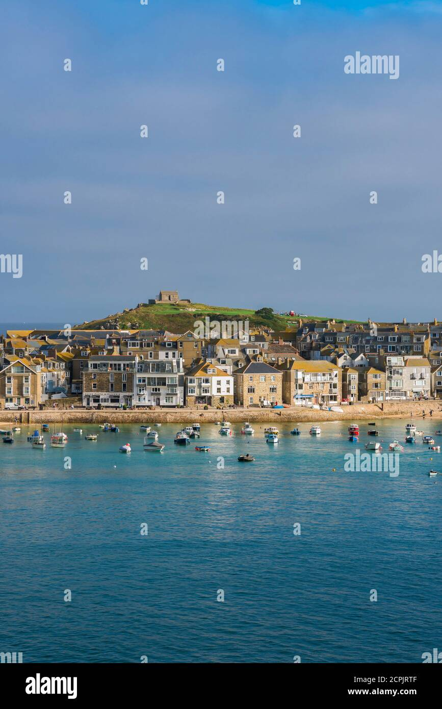 St Ives UK, view in summer across St Ives bay towards the town's beach, Cornwall, south west England, UK Stock Photo