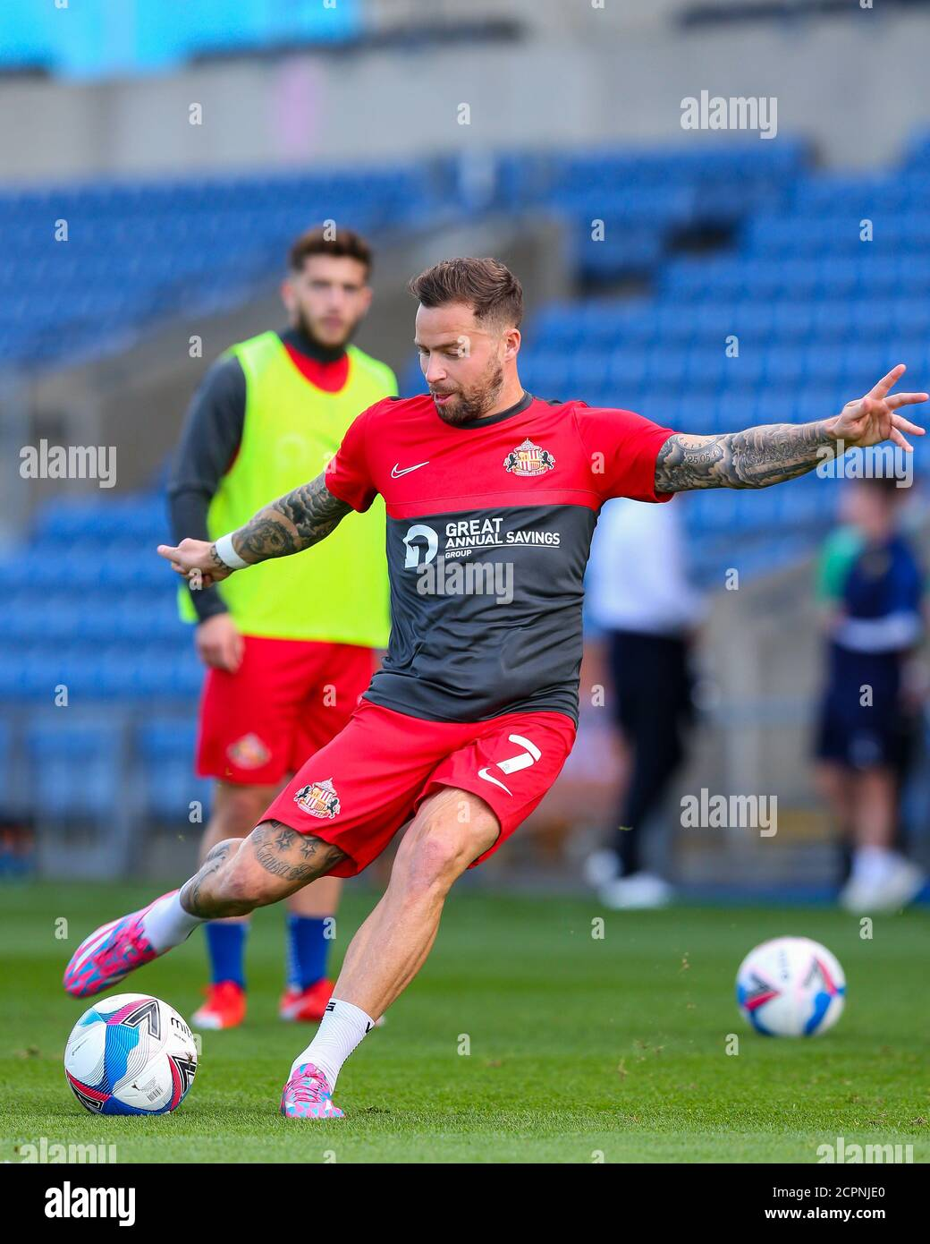 Oxford, UK. 19th Sep, 2020. Chris Maguire of Sunderland practises shooting before the Sky Bet League 1 behind closed doors match between Oxford United and Sunderland at the Kassam Stadium, Oxford, England on 19 September 2020. Photo by Nick Browning/PRiME Media Images. Credit: PRiME Media Images/Alamy Live News Stock Photo