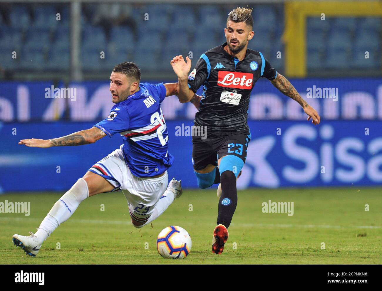 Soccer Football - Serie A - Sampdoria v Napoli - Stadio Comunale Luigi Ferraris, Genoa, Italy - September 2, 2018   Napoli's Elseid Hysaj in action with Sampdoria's Nicola Murru   REUTERS/Jennifer Lorenzini Stock Photo