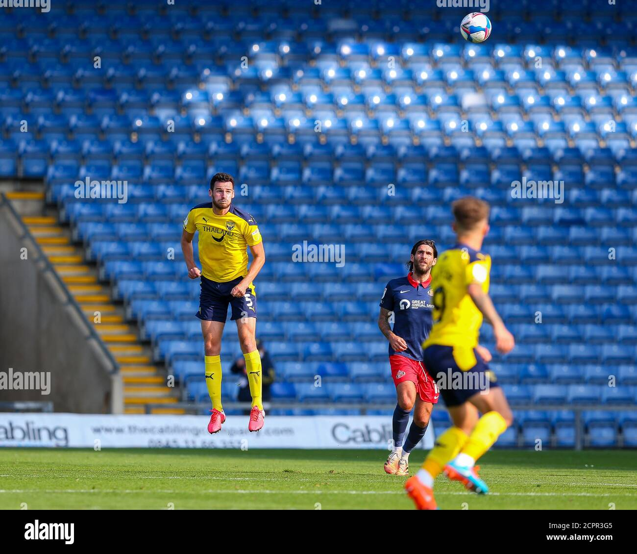 Oxford, UK. 19th Sep, 2020. Oxford United's Elliott Moore heads the ball clear during the Sky Bet League 1 behind closed doors match between Oxford United and Sunderland at the Kassam Stadium, Oxford, England on 19 September 2020. Photo by Nick Browning/PRiME Media Images. Credit: PRiME Media Images/Alamy Live News Stock Photo
