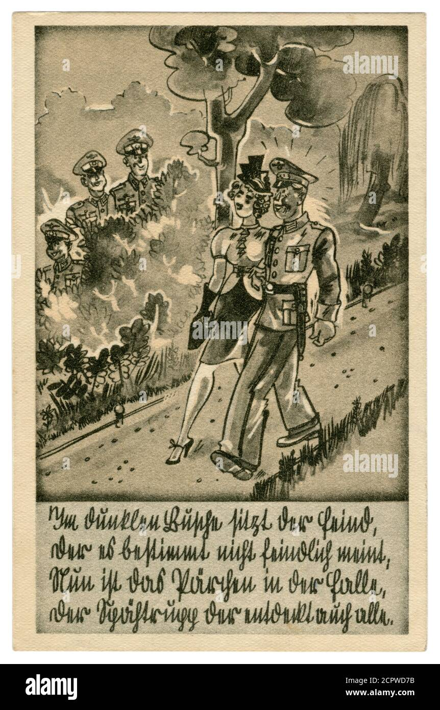 German historical postcard: German soldier in full dress uniform walking in the Park with a girl. Date and ambush in the bushes, satirical series 1939 Stock Photo