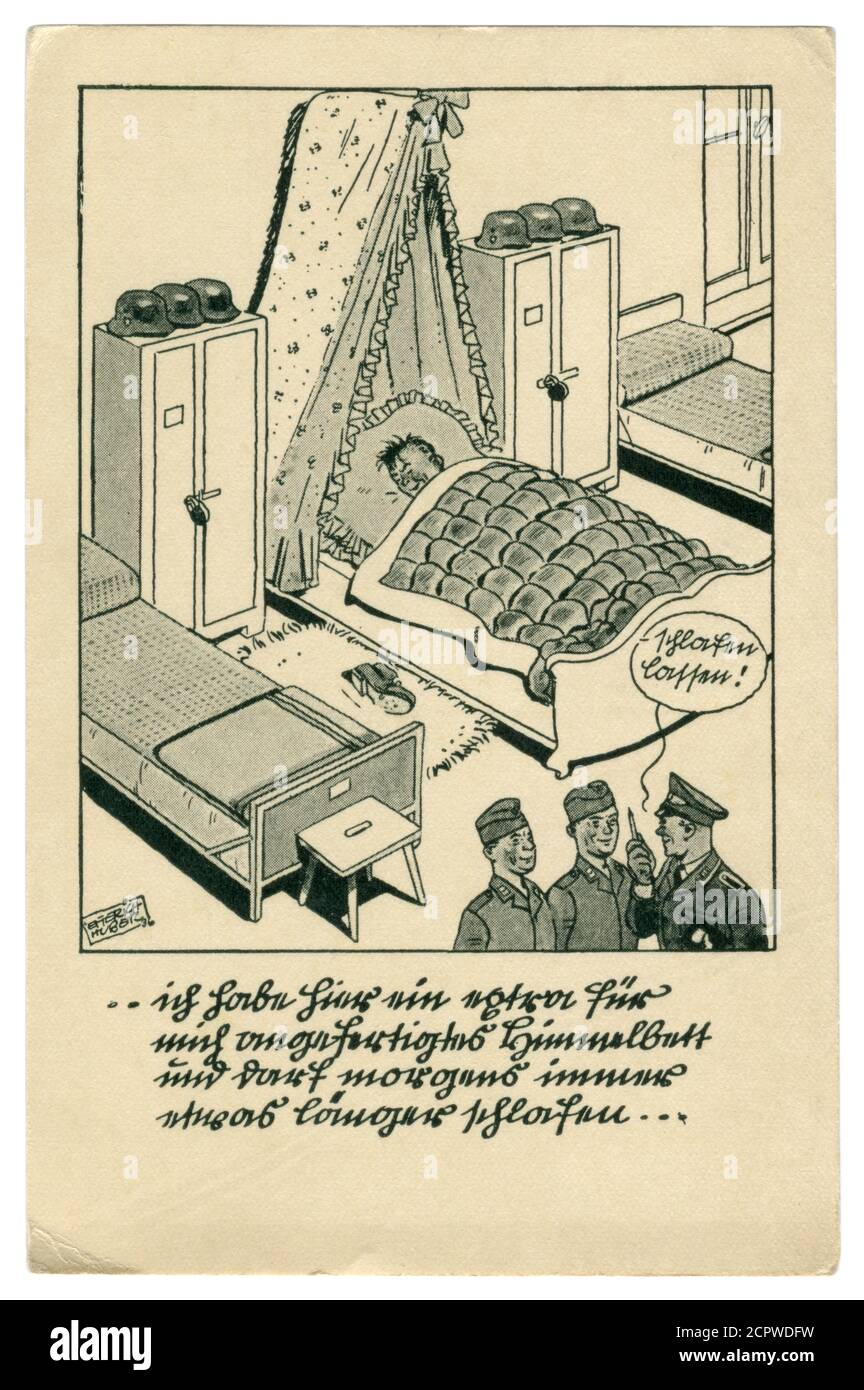 German historical postcard: The soldier is asleep, the service is on. He sleeps on duty in the bed under a stole, satirical series, world war ii, 1939 Stock Photo