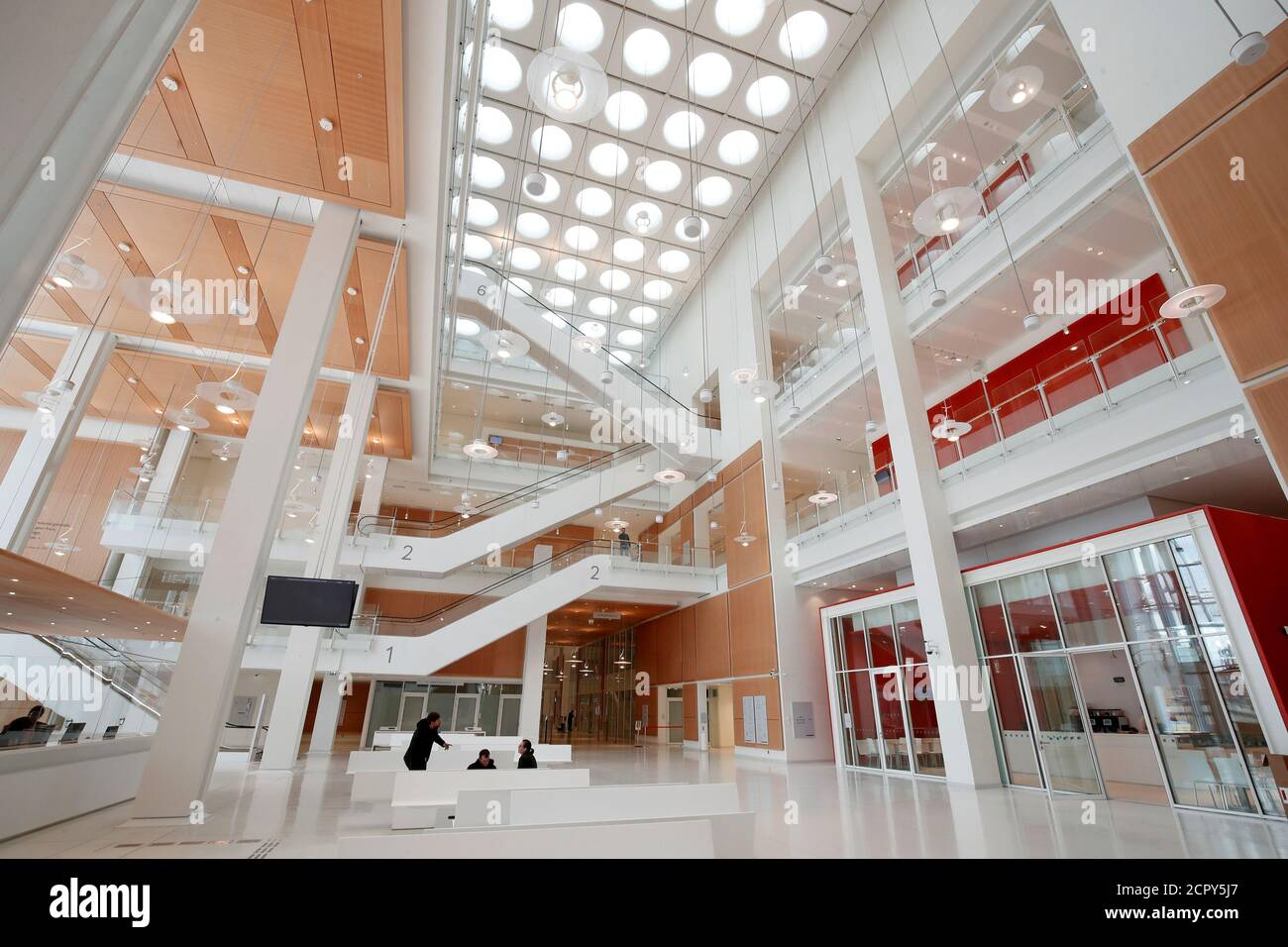 Inside view of the Paris new courthouse, designed by Italian architect Renzo Piano during a press visit in Paris, France, April 13, 2018. REUTERS/Benoit Tessier Stock Photo
