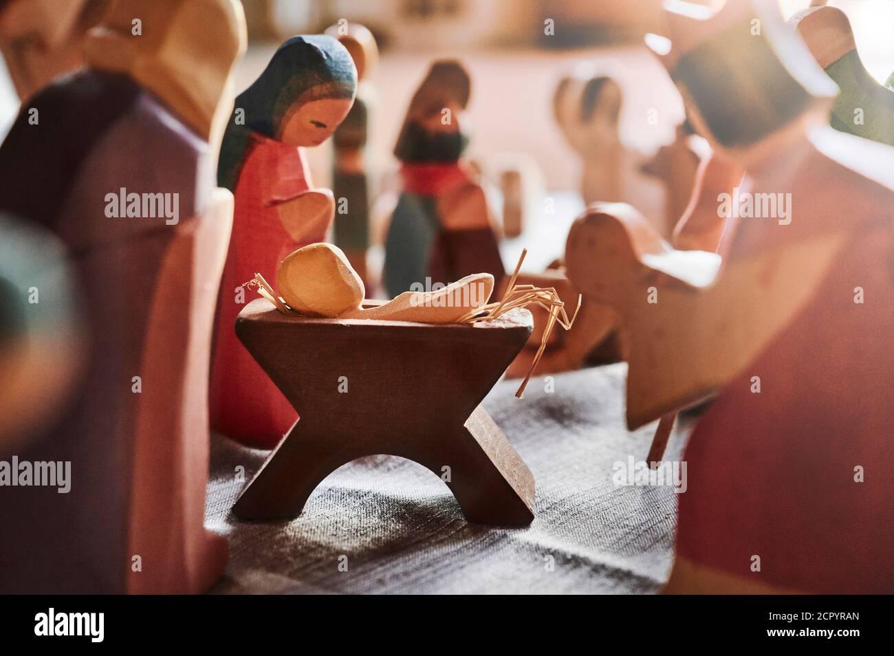 Christmas, Christmas story, nativity scene, group of figures, back light Stock Photo