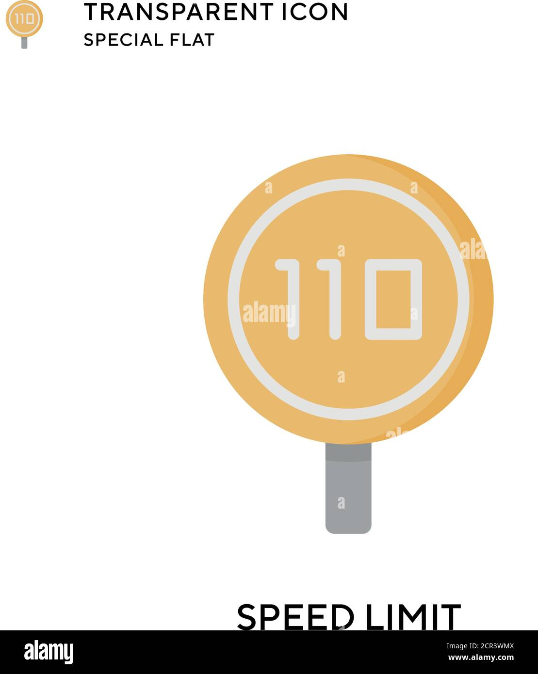 Speed limit vector icon. Flat style illustration. EPS 10 vector. Stock Vector
