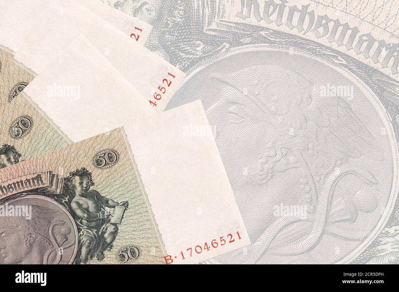 50 Reich Marks Bills Lies In Stack On Background Of Big Semi Transparent Banknote Abstract Business Background With Copy Space Stock Photo Alamy