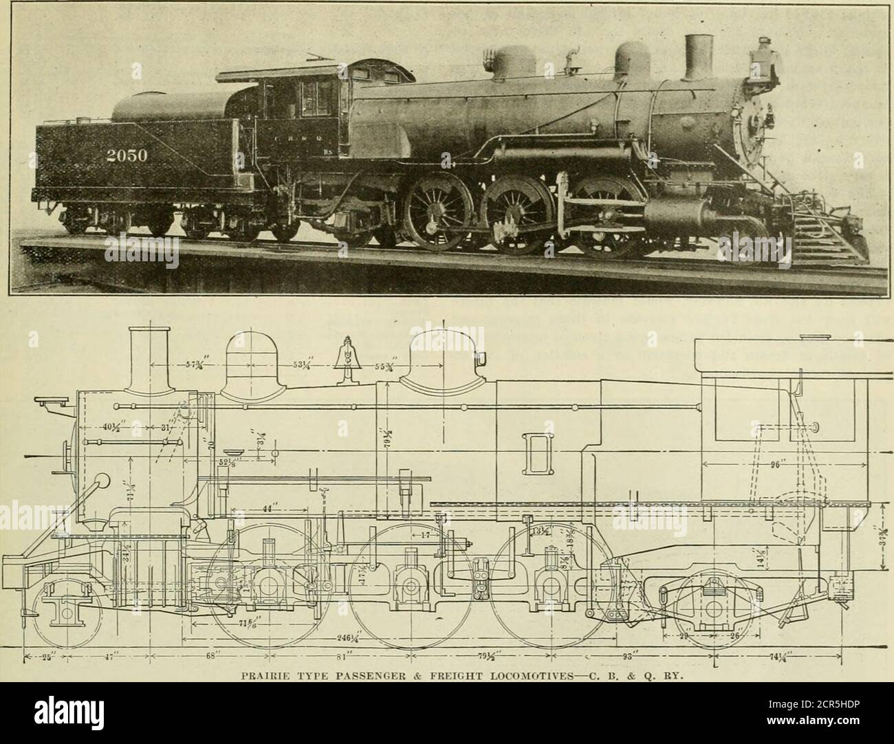 . American engineer and railroad journal . sections of pacific type locomotive. Total Weight Weight on Drivers Tractive Effort Steam Pressure Size. Cylinders Wheel, Diameter Total Heating Surface r, rate Area Tractive Effort X Dia. Drivers -=- Heat ing Surface Weight on Drivers -^ Heating Surface. Vol. Cyls.. cu. ft Total Heating Surface -4- Vol. Cyls. Rl. 138,000 94,000 21,860 190 lbs. 19 z 24 64 1,95842 717 48 7.88 248 R2. 171.000 130,000 25,500 200 lbs. 20 x 24 64 2.888.5 42 565 45 8.74 330 R3. 181.920 134,550 28,300 200 lbs. 21 x 26 69 3,060.5 42 64044 10.4294 R4. 212.500154,00035,060210 l Stock Photo
