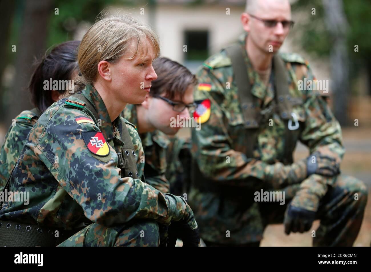 Members of the German Armed Forces (Bundeswehr) Reservists Association train civilians willing to become the reservists of Bundeswehr in Berlin, Germany, September 15, 2018. REUTERS/Hannibal Hanschke Stock Photo