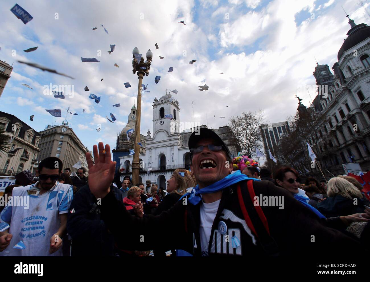 A man dances at Plaza de Mayo square during celebrations of the bicentennial anniversary of Argentina's independence from Spain in Buenos Aires, Argentina, July 9, 2016. REUTERS/Marcos Brindicci Stock Photo