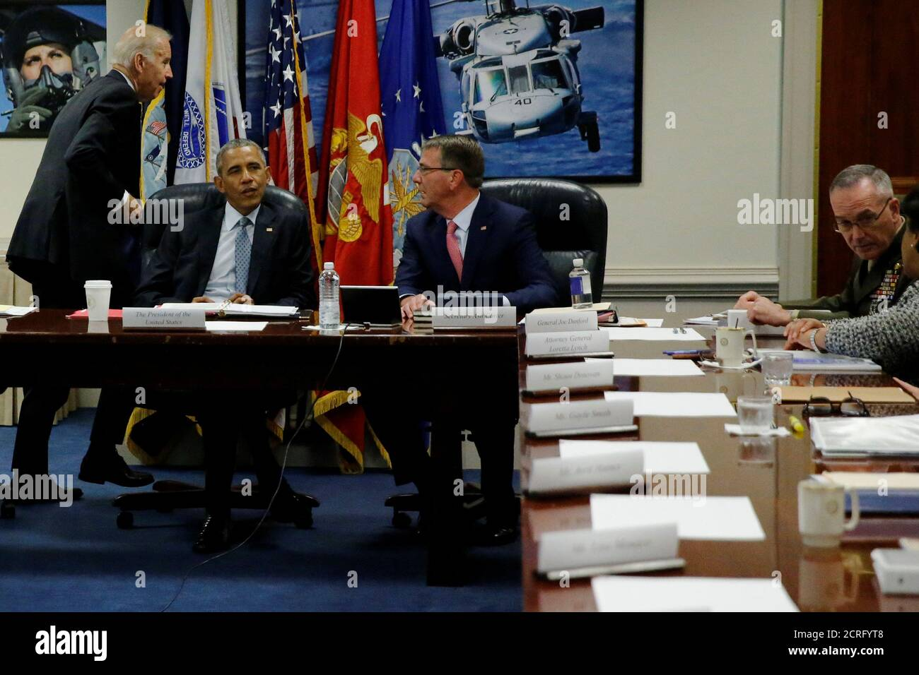 U.S. Vice President Joe Biden, President Barack Obama, Defense Secretary Ash Carter and Chairman of the Joint Chiefs of Staff U.S. Marine Corps General Joseph Dunford arrive for a meeting of the National Security Council at the Pentagon in Arlington, Virginia, U.S. August 4, 2016.  REUTERS/Jonathan Ernst Stock Photo