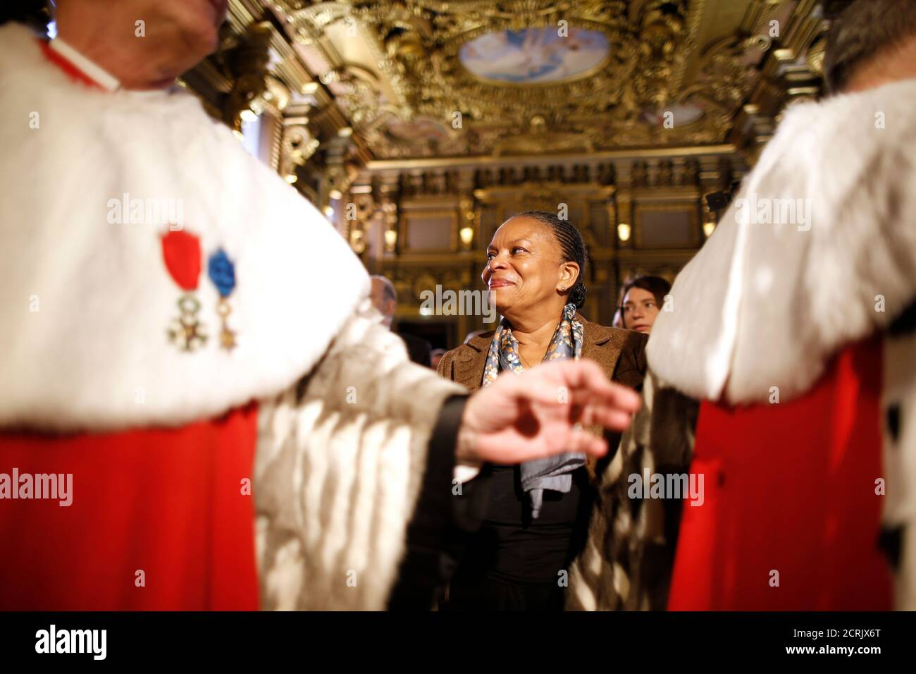 French Justice Minister Christiane Taubira (C) attends the traditional New Year ceremony which reopens the court of Cassation, France's highest judicial court, at Paris courthouse, France, January 14, 2016.    REUTERS/Charles Platiau Stock Photo