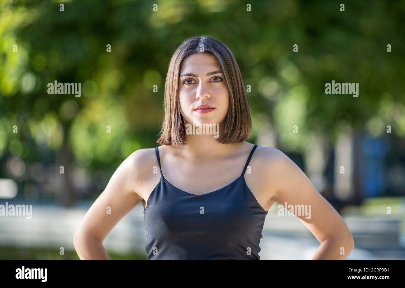 Young beautiful Turkish woman view in confident mood Stock Photo