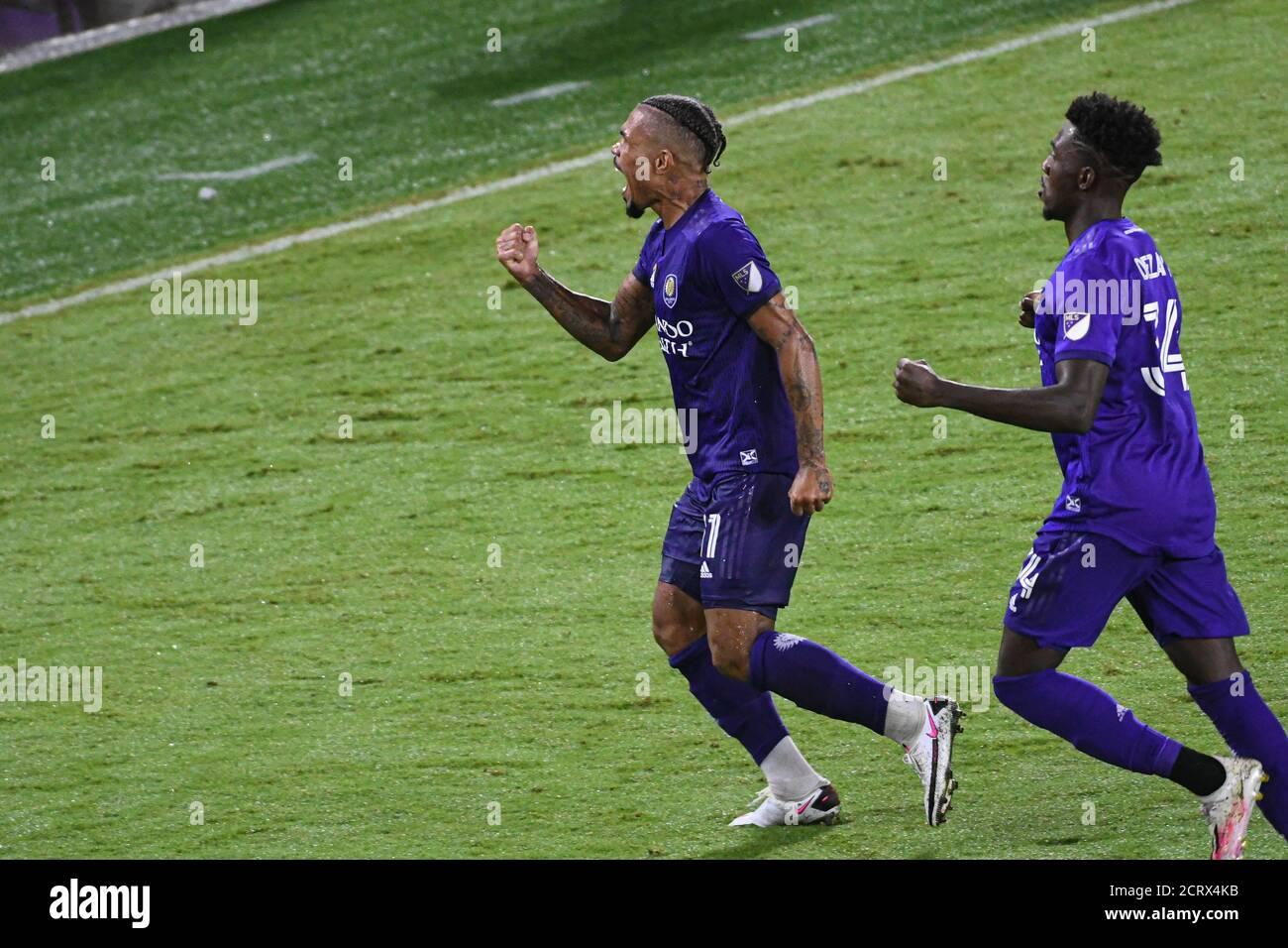 Orlando City SC midfielder Júnior Urso #11 celebrate goal at Exploria Stadium on Saturday September 19, 2020.   Photo Credit:  Marty Jean-Louis Stock Photo