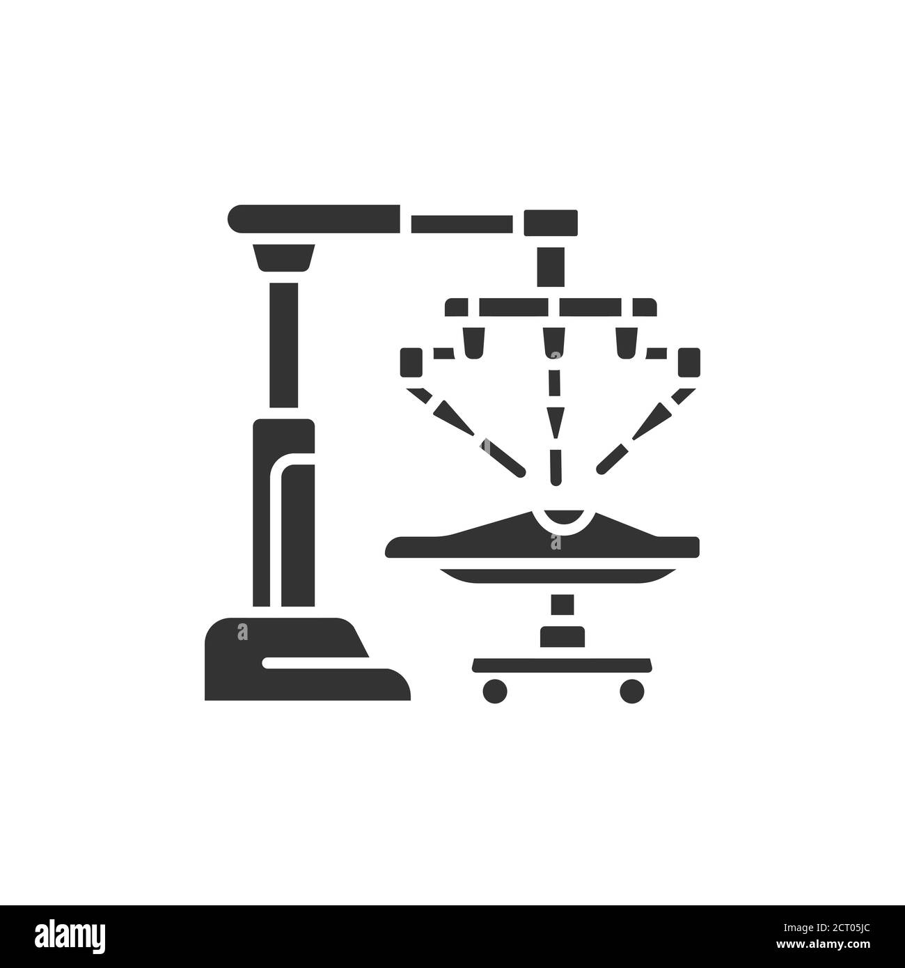 Medical robot black glyph icon. Robot surgeon makes a surgery patient on the operating table. Innovation in medicine. Sign for web page, app. UI UX Stock Vector