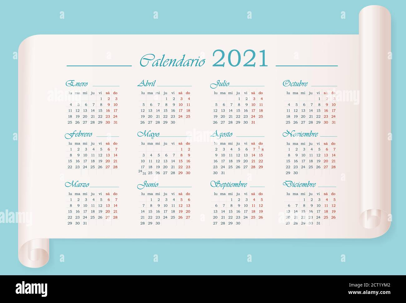 September Calendar Spanish High Resolution Stock Photography and