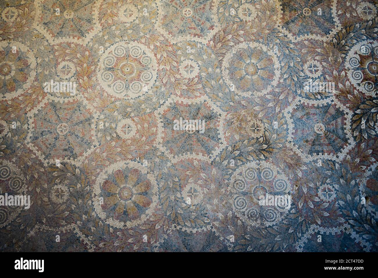 Villa Romana del Tellaro, mosaic patterns at the old house near Noto in South East Sicily, Italy, Europe Stock Photo