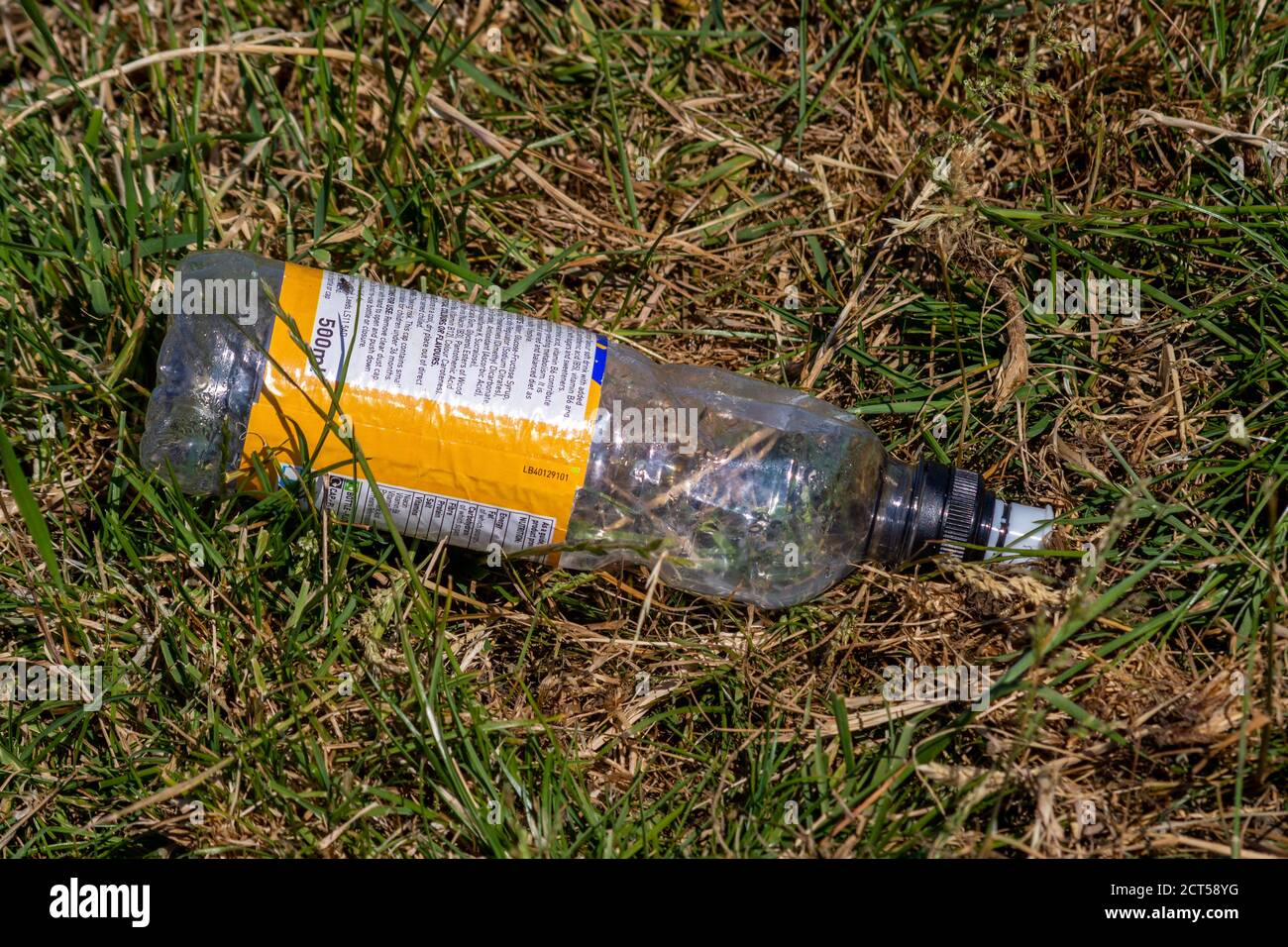An empty plastic drink bottle with text on a yellow and white label, lying on some scrubby grass having been thrown away as litter Stock Photo