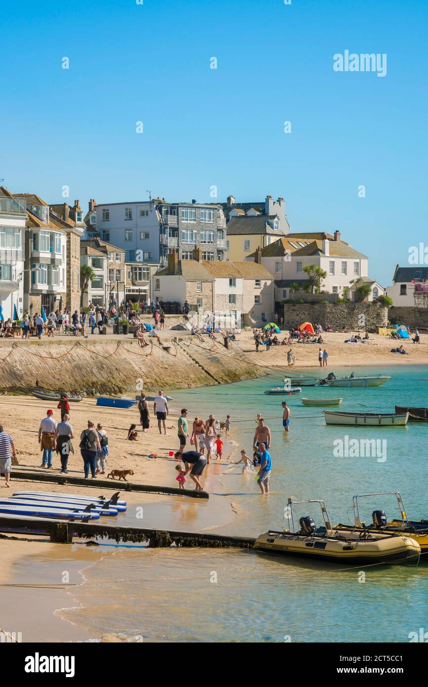 St Ives summer beach, view in summer of the beach in the harbour area of St Ives, Cornwall, south west England, UK Stock Photo