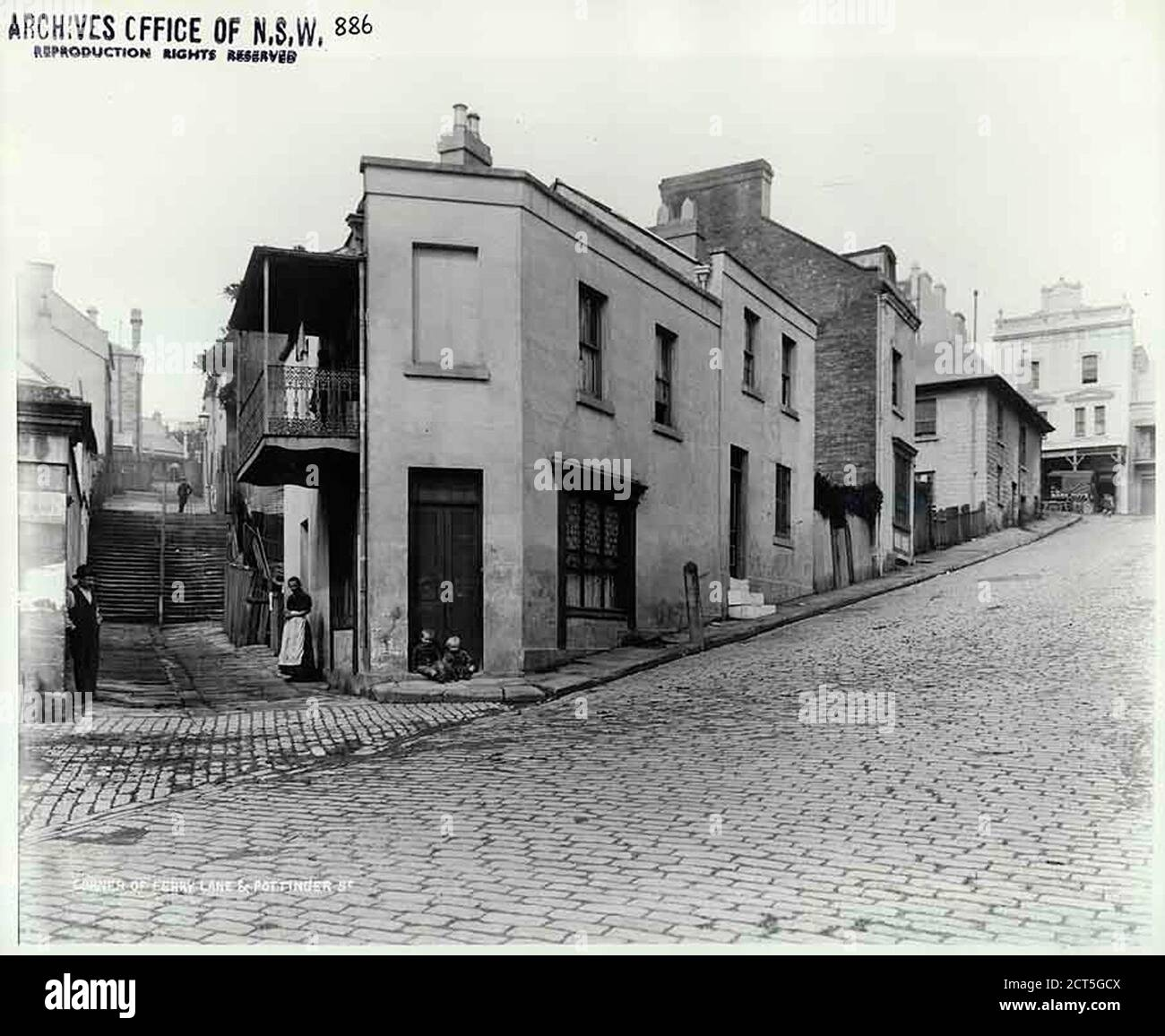 Ferry Lane and Pottinger Street, The Rocks   Stock Photo