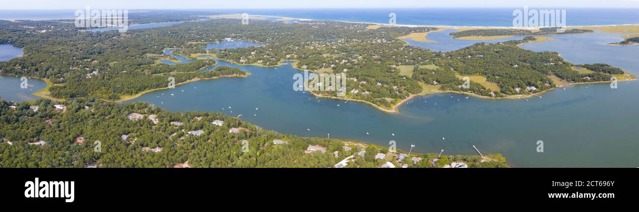 Cape Cod is a popular vacation destination with its beautiful beaches, quaint towns and hotels, art galleries, ponds, sailing, and coastal wildlife. Stock Photo
