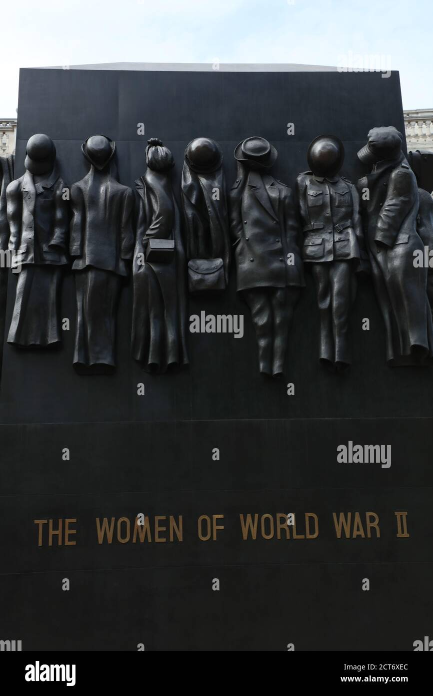 Close up of War Monument  honoring the role women played during the Second World War is seen on Whitehall, London, UK. Stock Photo