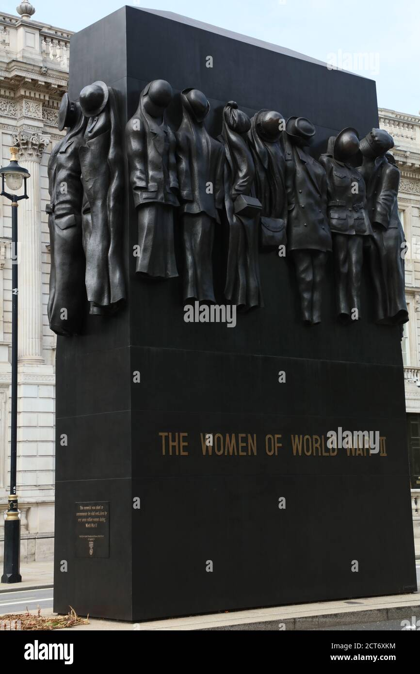 War Monument  honoring the role women played during the Second World War is seen on Whitehall, London, UK. Stock Photo
