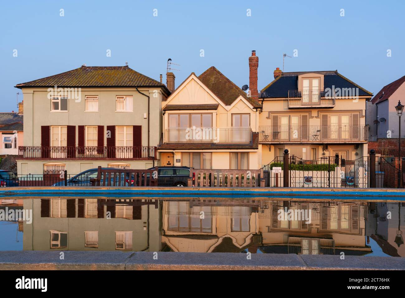 Aldeburgh, Suffolk, UK. September 2020. View of buildings at the boating pond in the early morning. Stock Photo