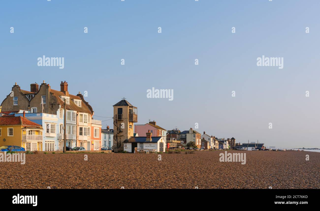 Aldeburgh, Suffolk. UK. September 2020. View of Aldeburgh Beach with early morning sunlight and blue sky. Stock Photo