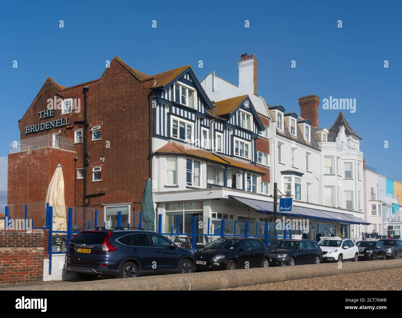 Aldeburgh, Suffolk. UK. September 2020. Exterior of The Brudenell Hotel on Crag Path. Stock Photo