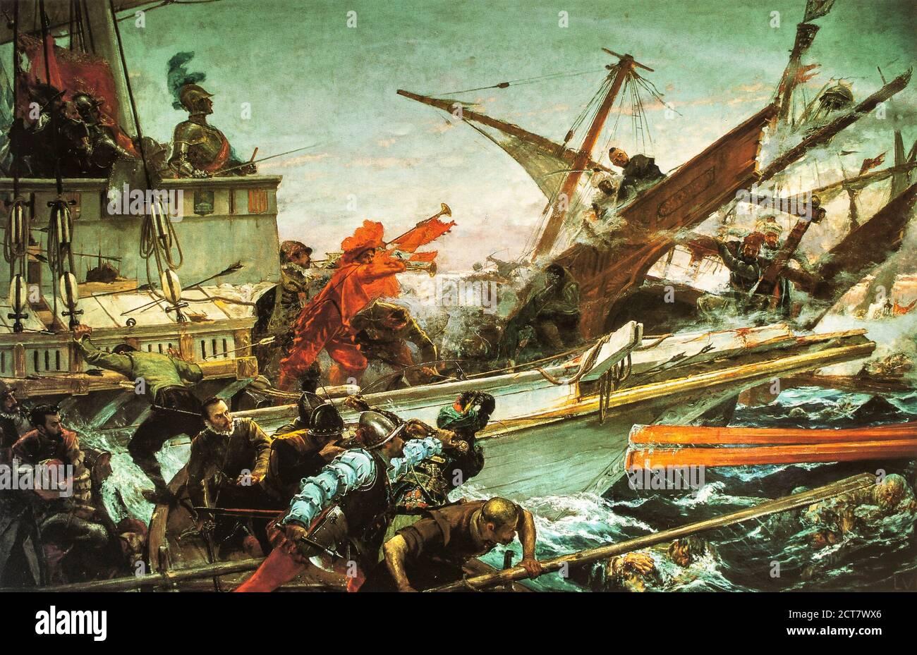 Naval battle of Lepanto, 1571. Painted by Juan Luna y Novicio in 1887. Palacio del Senado, Madrid, Spain Stock Photo