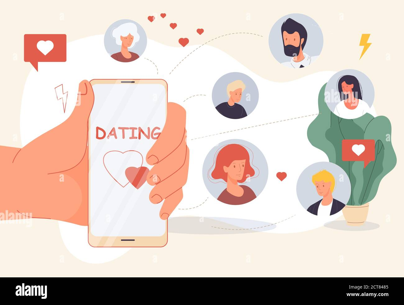 Dating online mobile app for virtual relationship Stock Vector