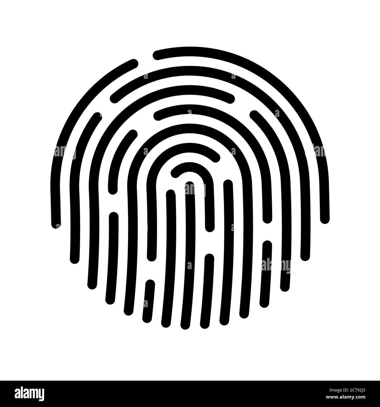 Blue fingerprint isolated on white background. Security scan for your device. Vector illustration. EPS 10. Stock Vector