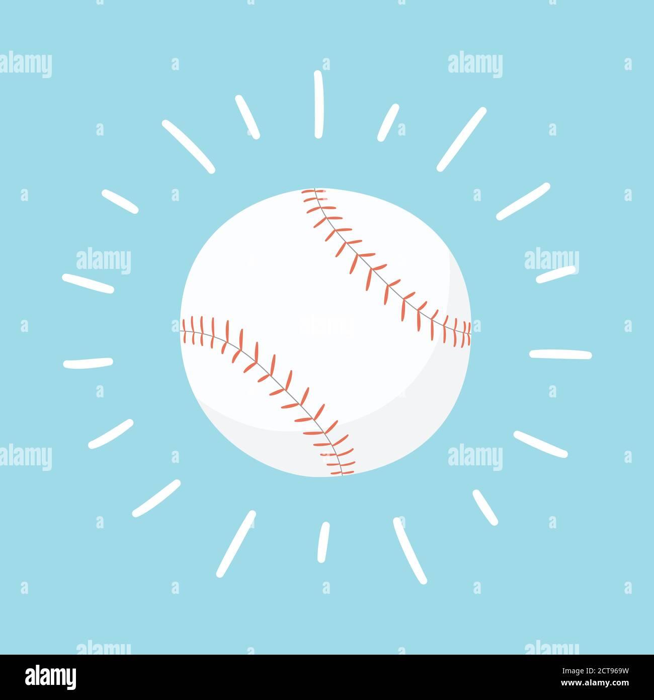 Shining baseball ball. Sport card. Hand drawn vector illustration Stock Vector