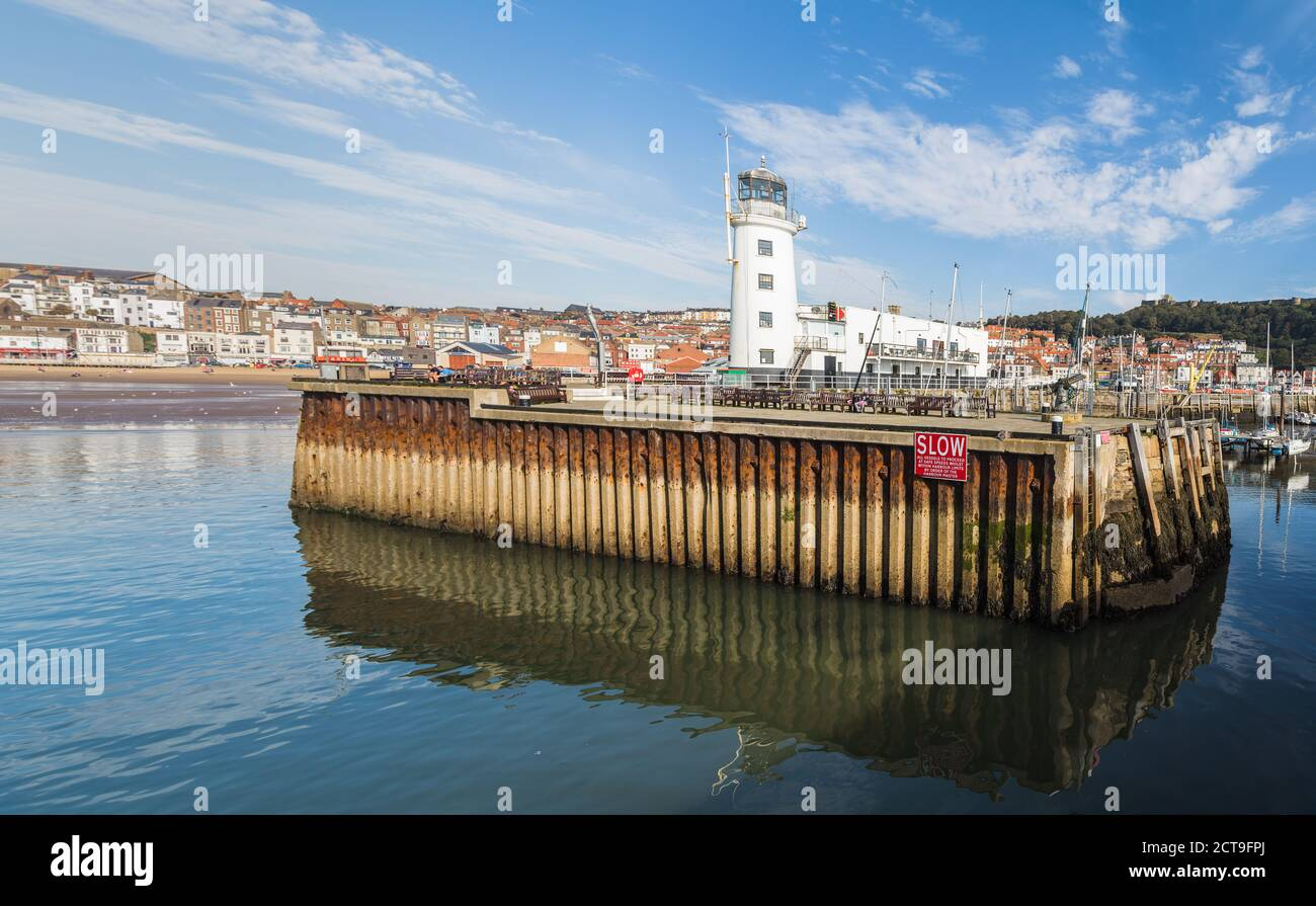 Scarborough harbour entrance multi image panorama seen in September 2020 at low tide. Stock Photo