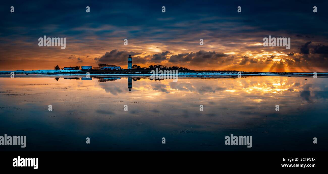 light house landscape. cool sunset i the bak and romantic light Stock Photo