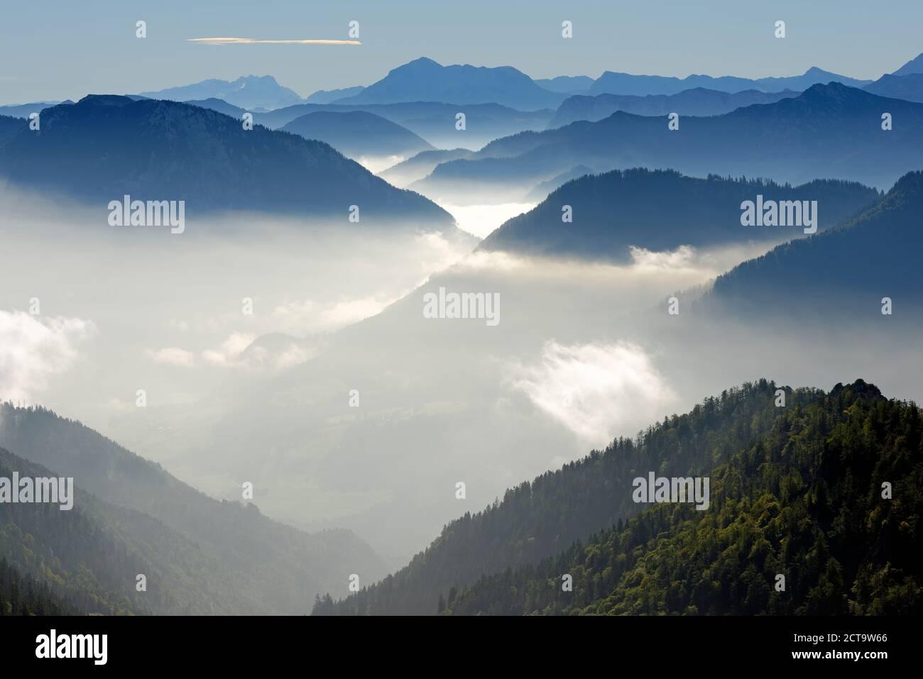Germany, Upper Bavaria, Bavaria, Chiemgau Alps, Bergen, Rauschberg, Dachstein, Hoher Goell, Hohes Brett and Aibleck from Hochfelln Stock Photo