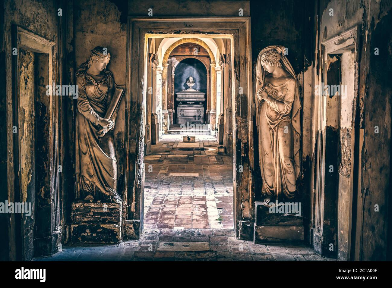 monumental cemetery symmetrical corridor background of mysterious places Stock Photo