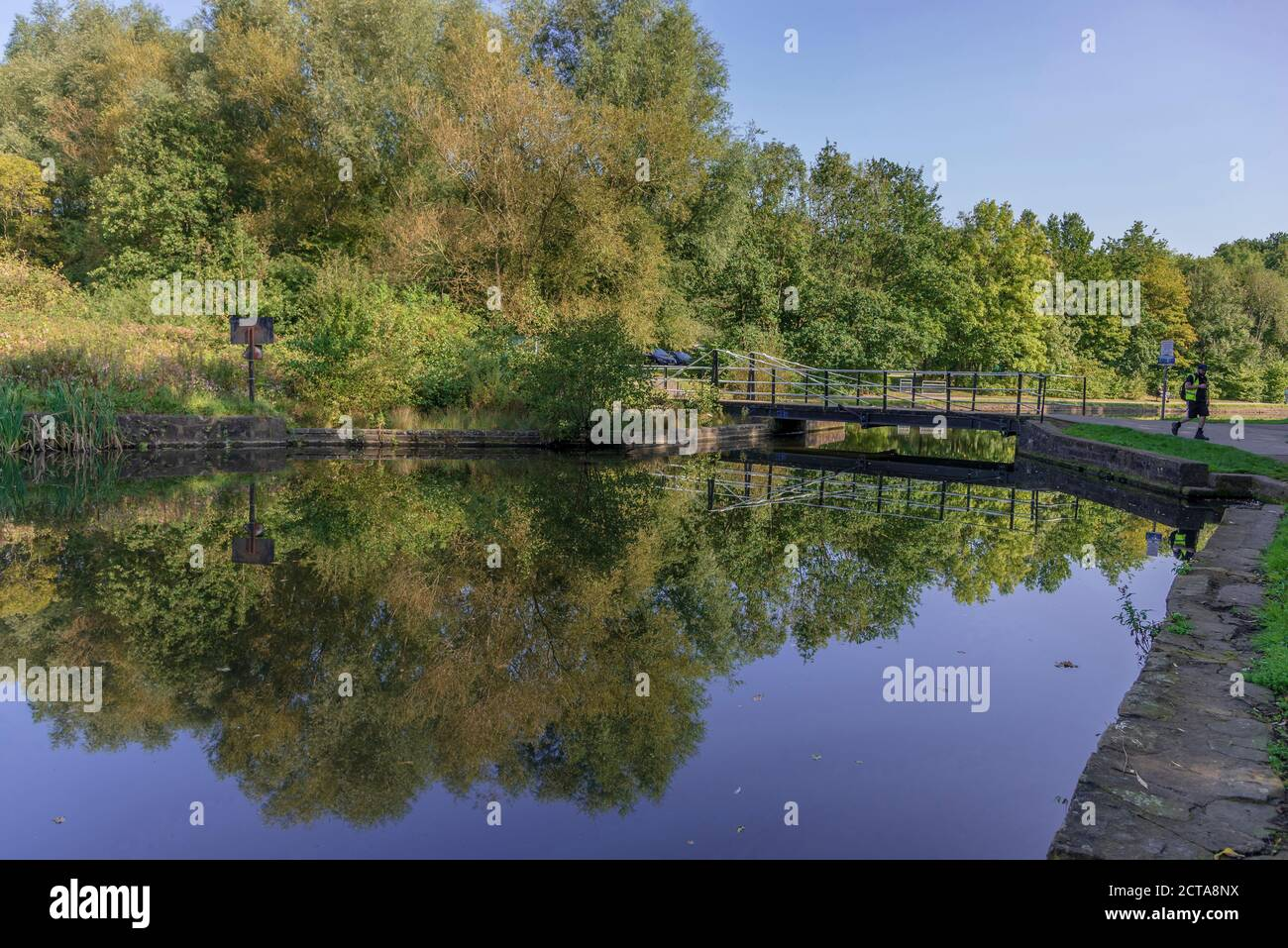 The old canal in Sankey Valley park at Earlestown. The park is a linear country park that runs fom Widnes to Haydock. Stock Photo
