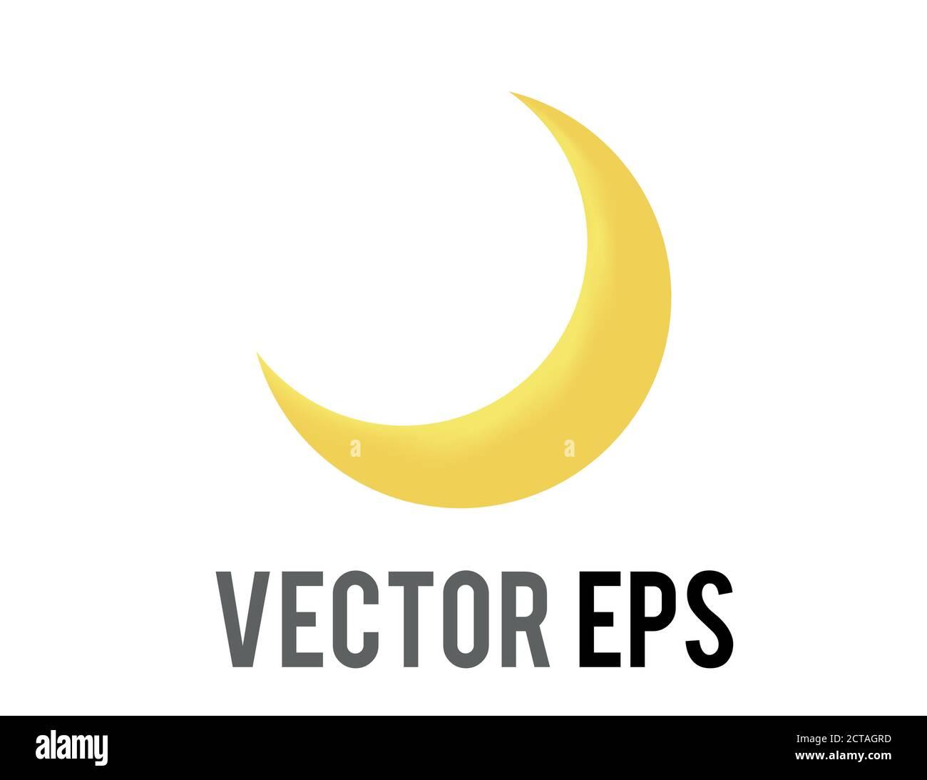 The vector thin gradient golden yellow crescent moon icon Stock Vector