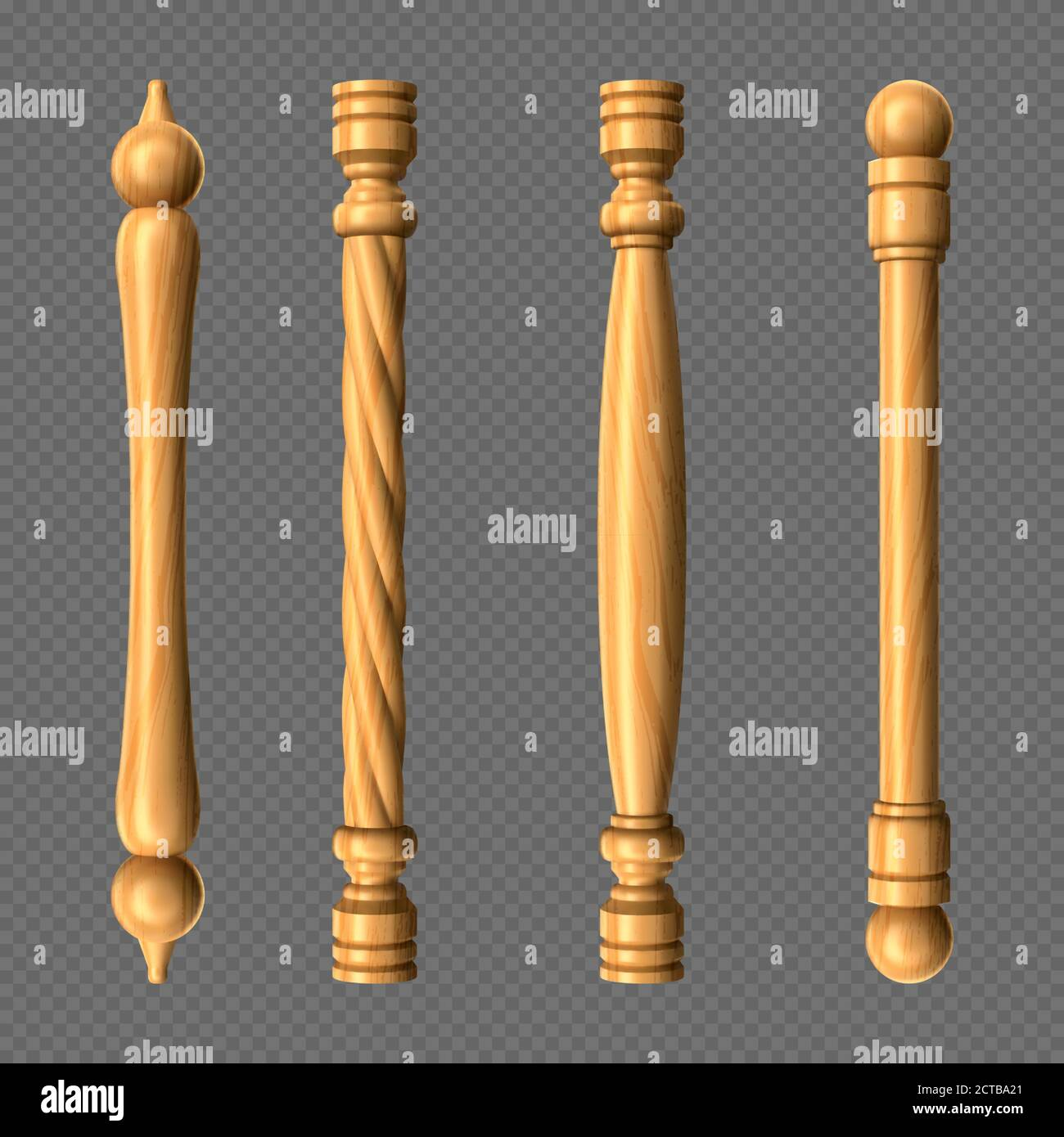 Wooden Door Handles Column And Twisted Knobs Bar Shapes Isolated On Transparent Background Yellow Wood Doorknobs