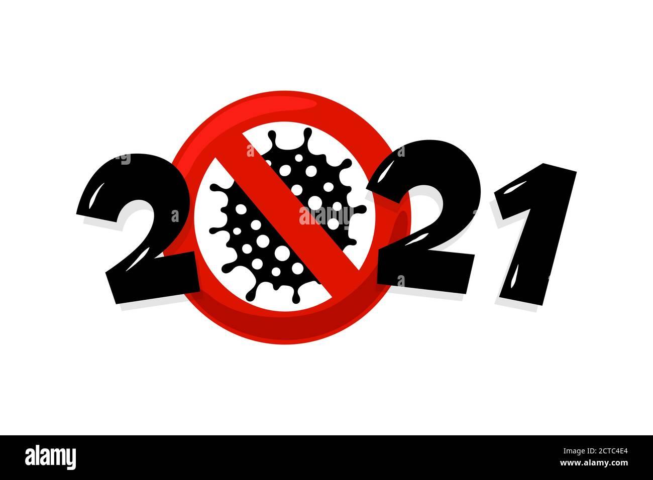 Happy New Year 2021 number with coronavirus COVID-19 ...
