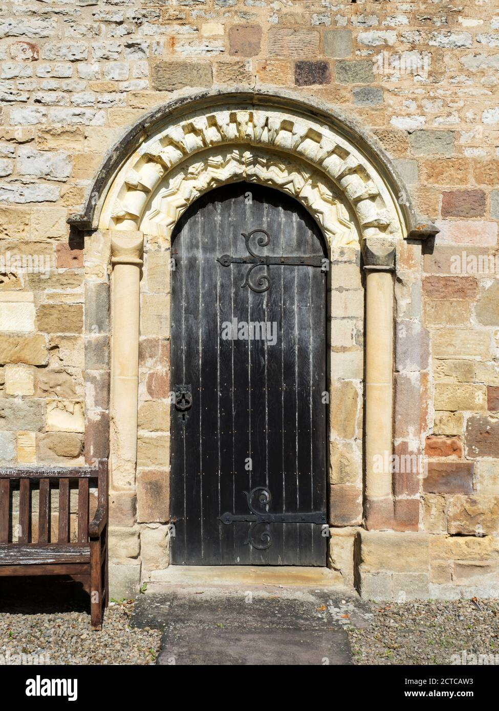 Norman South door at the Church of St Mary a grade I listed building in Goldsborough near Knaresborough North Yorkshire England Stock Photo